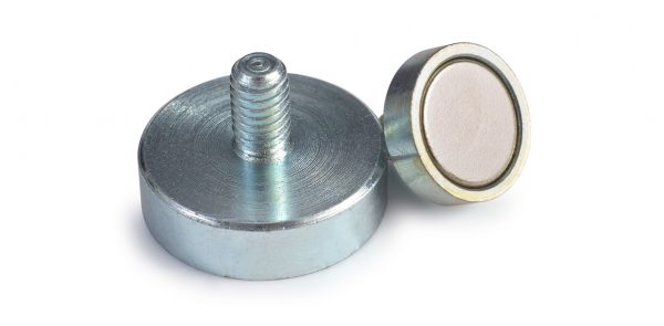 Exterior thread neodymium pot magnets-0