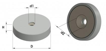 base magnética con agujero avellanado pasante