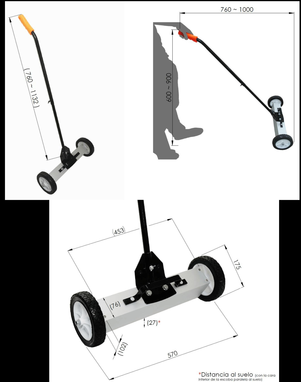 medidas de una escoba magnética